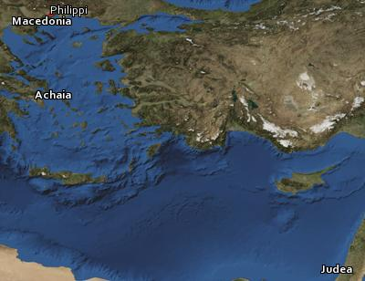 Satellite image of the places in I Thessalonians