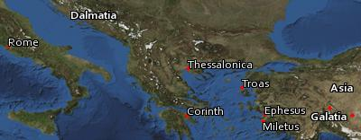 Satellite image of the places in II Timothy