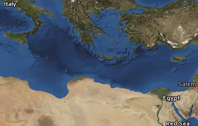 Satellite image of the places in Hebrews