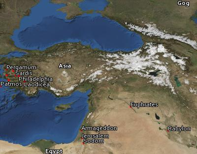 Satellite image of the places in Revelation