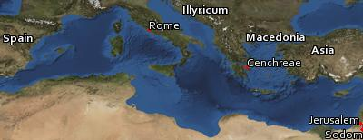 Satellite image of the places in Romans